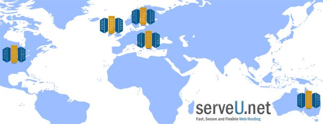 ServeU.net Five Data Centers on 3 continents