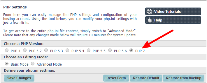 Switch to PHP7 hosting