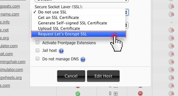 Choose Request Let's Encrypt SSL